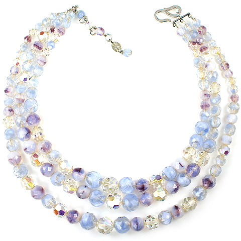 Christian Dior by Henkel and Grosse Aurora Amethyst and Moonstone Polyhedrons Triple Stranded Choker Necklace