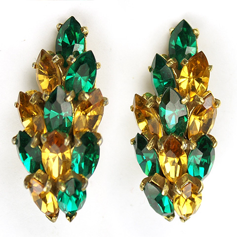 Christian Dior by Kramer Emerald and Citrine Navettes Clip Earrings