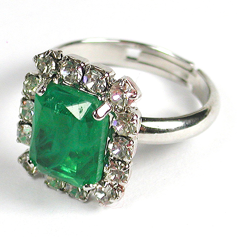 Christian Dior Pave and Emerald Adjustable Finger Ring