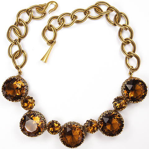 Christian Dior by Henkel and Grosse Gold Chain Loops and Prong Set Topaz Choker Necklace