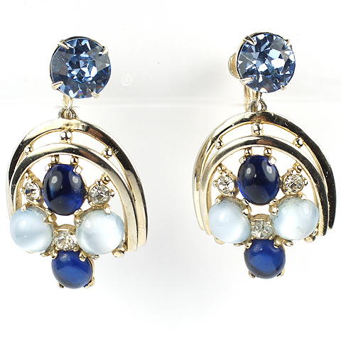 Schiaparelli Aquamarine Moonstone and Sapphire Cabochons Silver Horseshoe Pendant Screwback Earrings