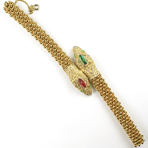 Ciner Gold Ruby and Emerald Demilunes Double Headed Snake Bracelet