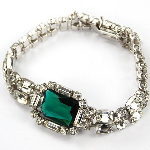 Christian Dior by Kramer Diamante Baguettes and Oblong Cut Emerald Bracelet