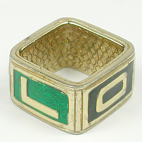 Ciner Gold and Enamel Square 'LOVE' Finger Ring
