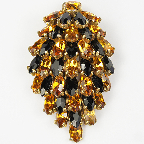 Christian Dior by Kramer Stacked Gold Citrine and Onyx Navettes Pin Clip