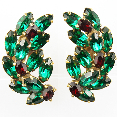 Christian Dior by Kramer Emerald and Ruby Chatons Swirls Christmas Clip Earrings