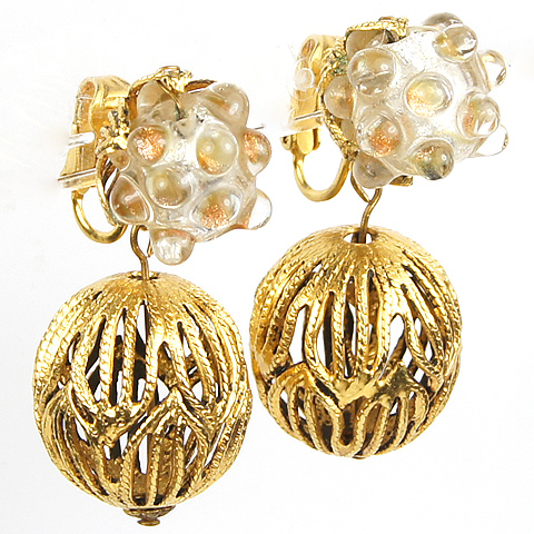 Sandor Poured Glass Fruit and Gold Openwork Spheres Pendant Clip Earrings