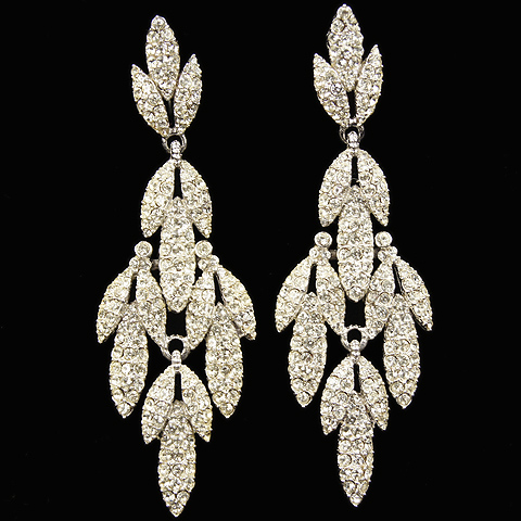 Ciner Silver and Pave Multiple Element Leaf Cascade Pendant Clip Earrings