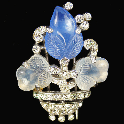 Trifari 'Alfred Philippe' Small Sapphire and Moonstone Fruit Salad Flower Vase Pin Clip