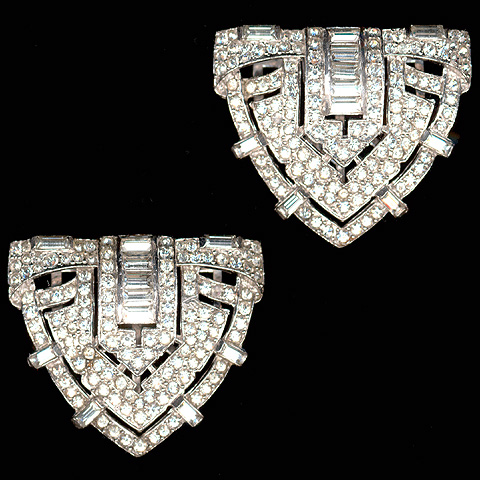 Trifari 'Alfred Philippe' Pair of Pave and Baguettes Deco Shield Dress Clips