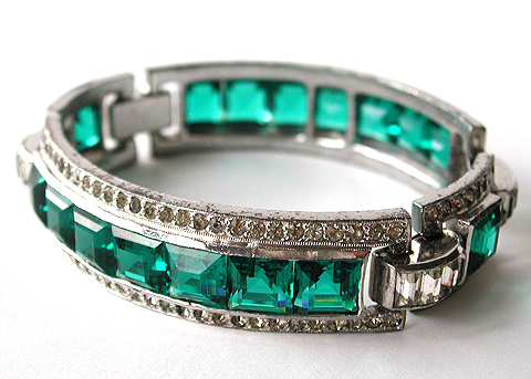 KTF Trifari 'Alfred Philippe' Invisibly Set Emeralds Four Link Bangle Bracelet