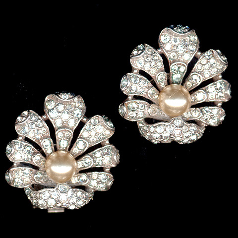 Trifari 'Alfred Philippe' Pave and Pearl Seashells Clip Earrings