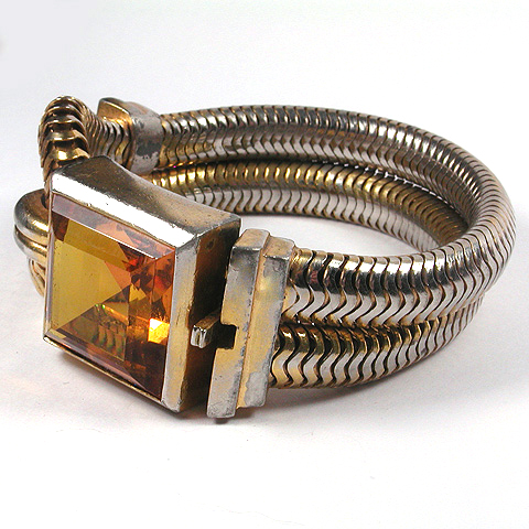 Trifari 'Alfred Philippe' Massive Square Cut Citrine and Doubled-over Gold Articulated Chain Bracelet