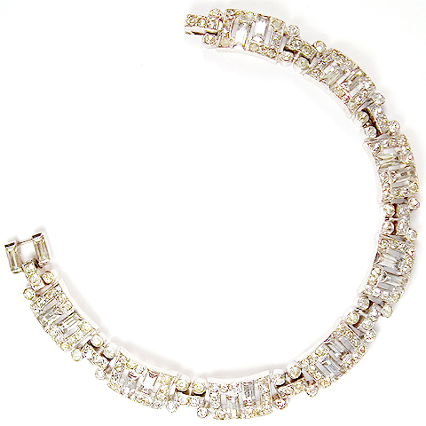 Trifari 'Alfred Philippe' Pave and Offset Baguettes Deco Tennis Bracelet