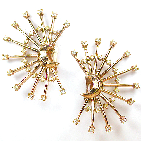Trifari 'Alfred Philippe' Gold Crescent Moon and Giant Starbursts Clip Earrings