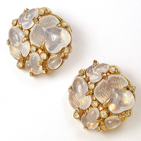 Trifari 'Alfred Philippe' Moonstone Fruit Salad Button Clip Earrings