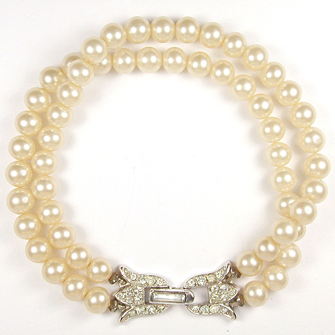 Trifari 'Alfred Philippe' Double Stranded Pearl Bracelet with Pave Flower Clasp