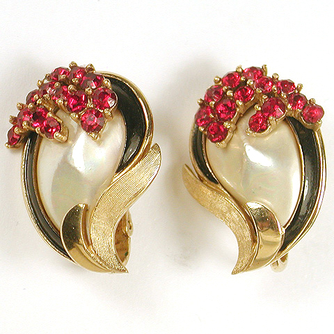 Trifari 'Alfred Philippe' Pearl Rubies and Black Enamel  Swirl 1965 'Retro Collection' Clip Earrings