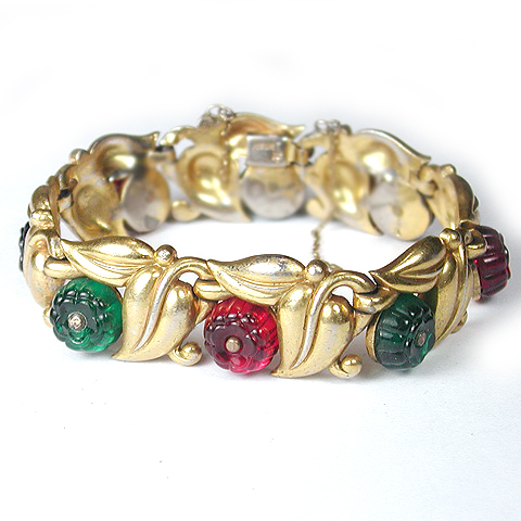 Trifari 'Alfred Philippe' Gold Leaves and Tricolour Shoebutton Fruit Salads Bracelet
