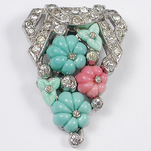 KTF Trifari 'Alfred Philippe' Turquoise Jade and Coral Fruit Salad Dress Clip