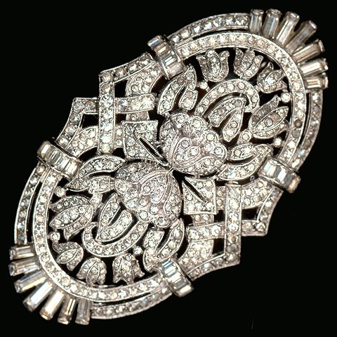 Trifari 'Alfred Philippe' Deco Pave and Baguettes Mirror Image Bell Flowers Floral Scene Pin