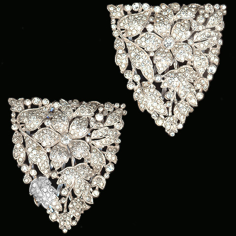 Trifari and KTF Trifari 'Alfred Philippe' Pave Flowers and Leaves Deco Pair of Dress Clips