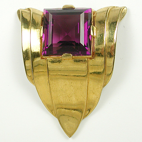 Trifari 'Alfred Philippe' Gold and Square Cut Amethyst Serpentine Doorknocker Dress Clip