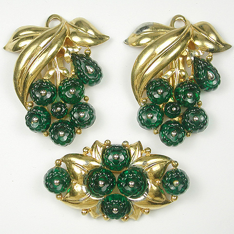 Trifari 'Alfred Philippe' Set  of Golden Leaves and Emerald Fruit Salad Berry Clusters Pin and Two Dress Clips