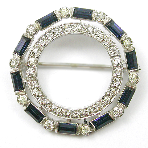 KTF Trifari 'Alfred Philippe' Pave and Sapphire Baguettes Deco Double Circle Pin