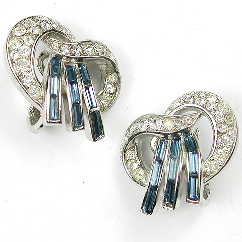 Trifari 'Alfred Philippe' Pave and Sapphire Baguette Bowknot Clip Earrings