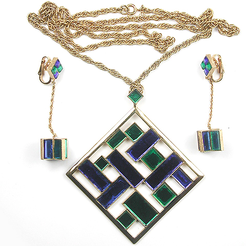 Trifari Emerald and Sapphire Mirrors Mobile Pendant Necklace and Pendant Clip Earrings Set