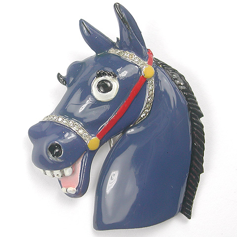 Trifari 'Alfred Philippe' Blue Enamelled Laughing Horse Pin Clip