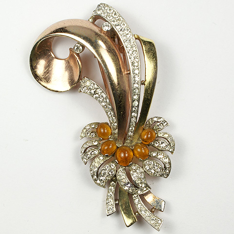 Trifari 'Alfred Philippe' Yellow and Rose Gold Swirls with Pave and Citrine Cabochon Flower Pin Clip