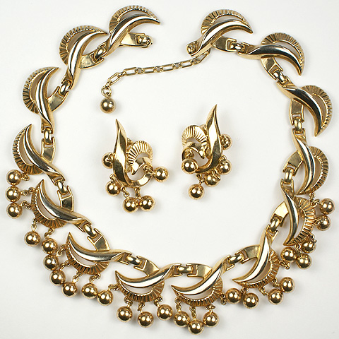 Trifari Gold Swirls and Pendant Golden Globes Necklace and Pendant Clip Earrings Set