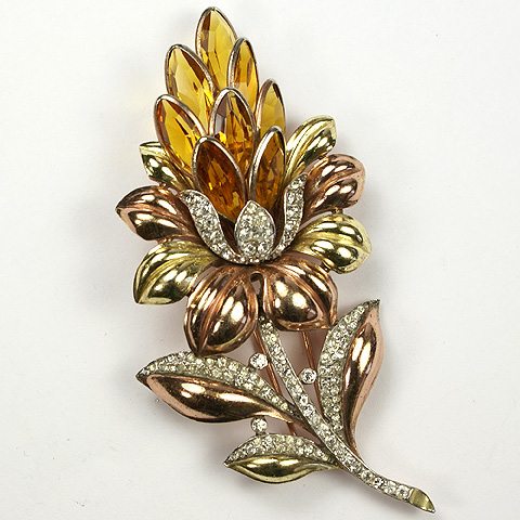 Trifari 'Alfred Philippe' Yellow and Rose Gold Pave and Citrines Lotus Flower Pin Clip