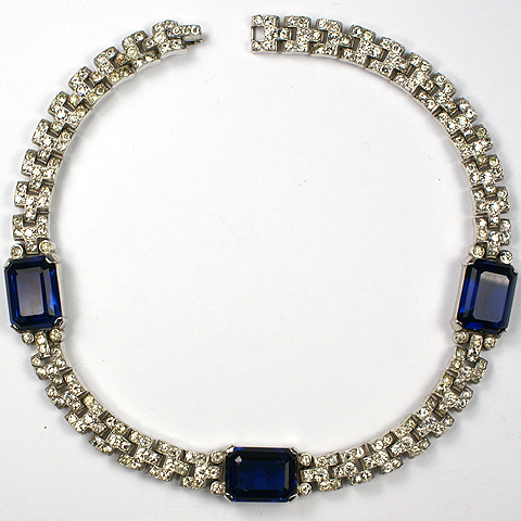 Trifari 'Alfred Philippe' Pave and Square Cut Sapphires Choker Necklace