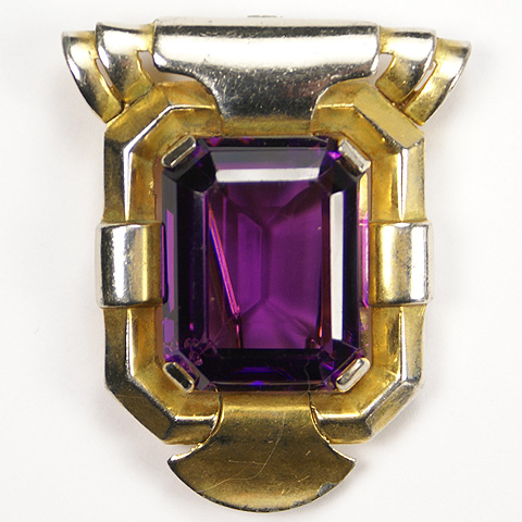 Trifari 'Alfred Philippe' Gold and Amethyst Doorknocker Pin Clip