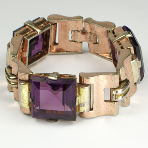 Trifari 'Alfred Philippe' Triple Link Square Cut Amethyst Two Colour Gold Tank Bracelet