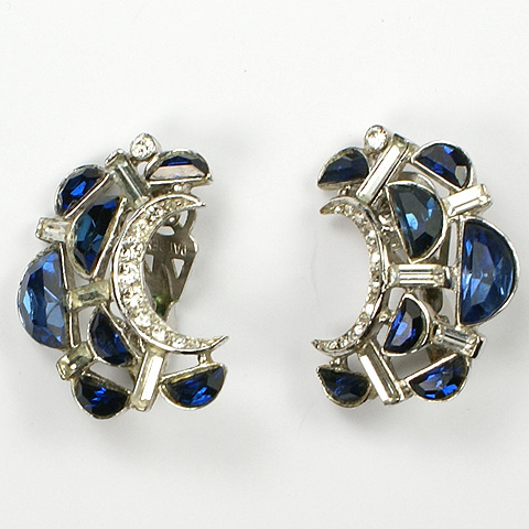Trifari 'Alfred Philippe' Crescent Moon Sapphire Demilune Clip Earrings