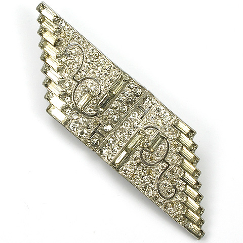 KTF Trifari (unsigned) 'Alfred Philippe' Pave and Baguettes Deco Scrolls Parallelogram Pin