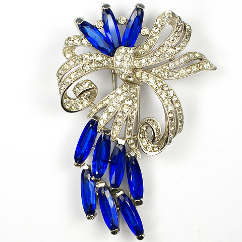 Trifari 'Alfred Philippe' Pave Bow and Sapphire Lozenges Floral Spray Pin Clip