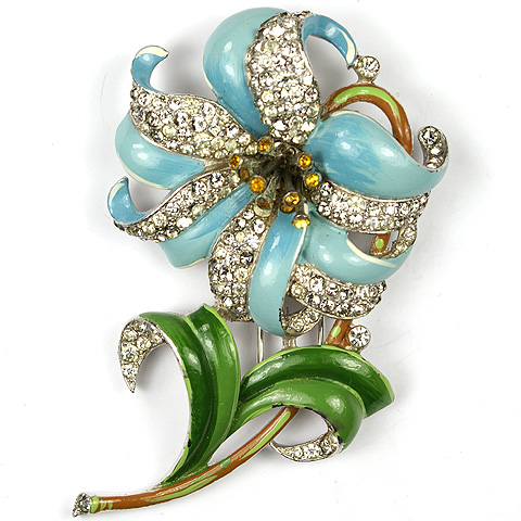 Trifari 'Alfred Philippe' Pave and Enamel Tiger Lily Pin Clip