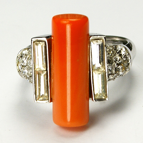 Trifari Diamond Baguettes and Coral Cylinder Finger Ring