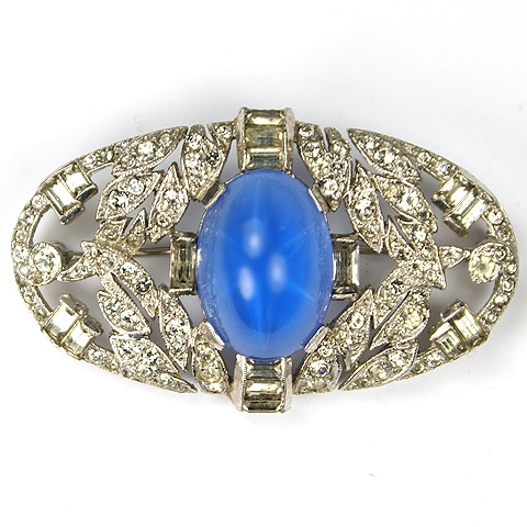 KTF Trifari 'Alfred Philippe' Oval Pave Leaves, Baguettes and Single Star Sapphire Deco Pin