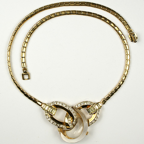 Trifari 'Alfred Philippe' Gold Pave and Jelly Belly 'Curl' Necklace
