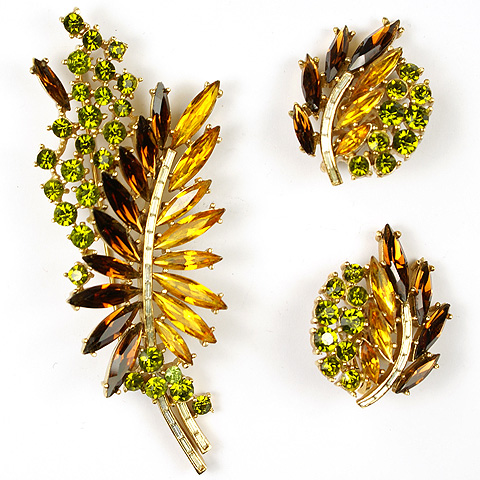 Trifari 'Alfred Philippe' Citrine Topaz and Peridot Autumn Leaves Pin and Clip Earrings Set