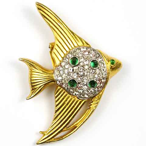 Trifari 'Alfred Philippe' Gold Pave and Emerald Cabochon Angelfish Scatter Pin Clip