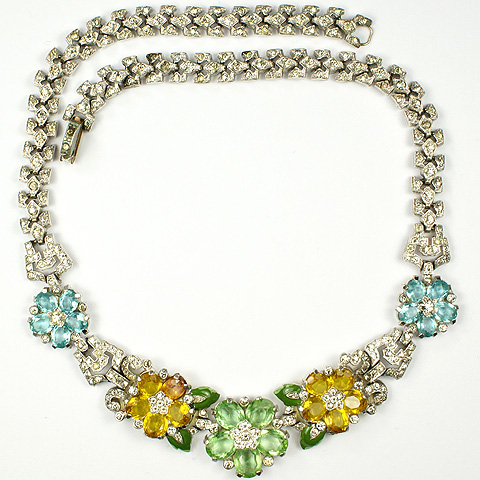 Trifari 'Alfred Philippe' Peridot Citrine and Aquamarine Pastel Flowers and Enamel Leaves Necklace