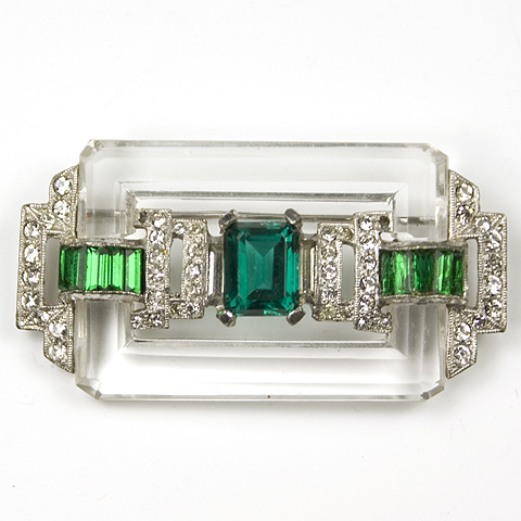 KTF Trifari 'Alfred Philippe' (unsigned) Invisibly Set Emeralds Pave and Crystal Rectangle Deco Bar Pin
