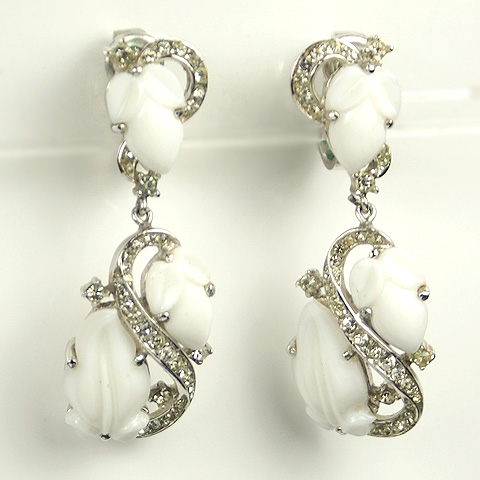 Trifari Ivory Fruit Salads Pendant Clip Earrings
